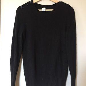 J Crew Black Button Shoulder Sweater